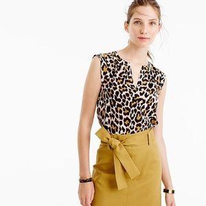 J. Crew 2 Silk Cuffed-Sleeve Top in Leopard Print